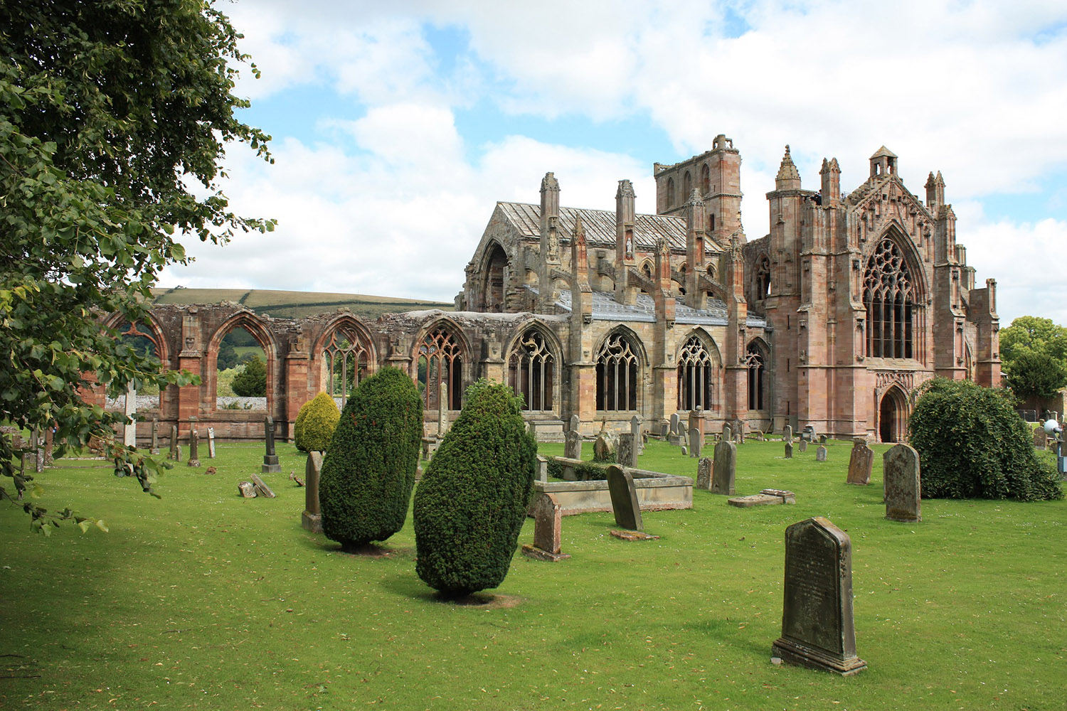 Melrose Abbey is located in the Scottish Borders and is a highlight of our border raiders tour of Scotland